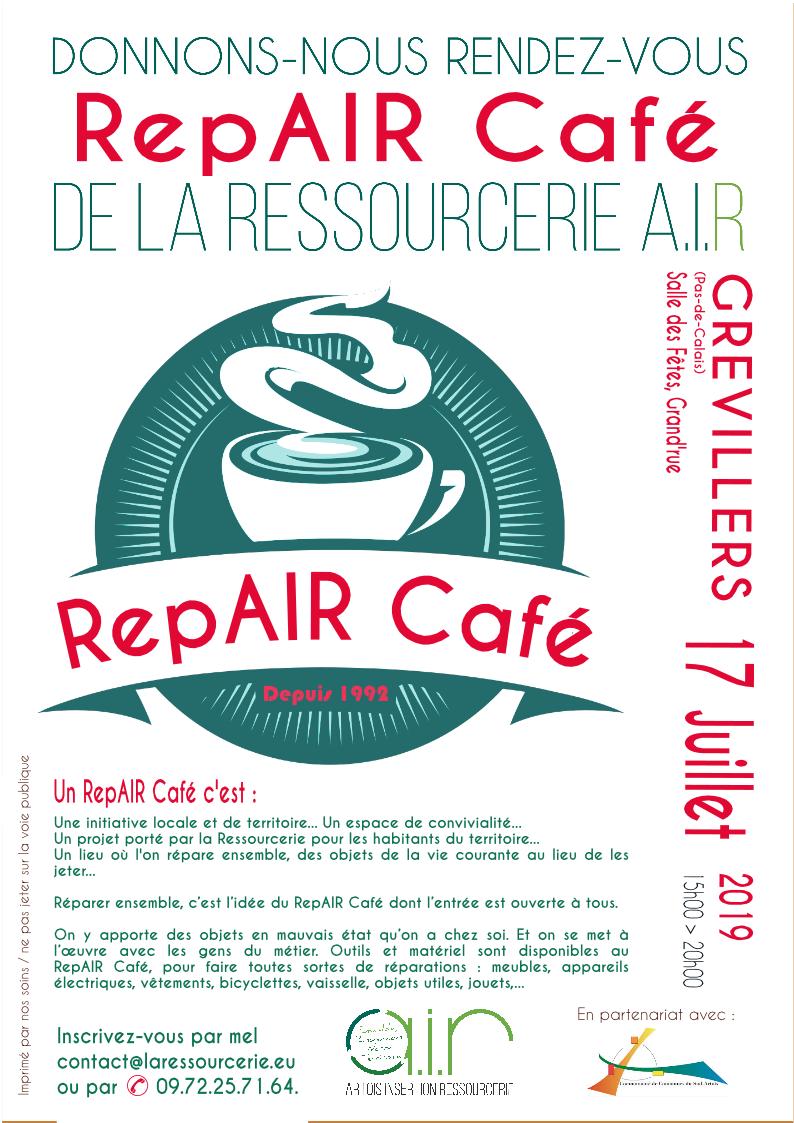 Prêts pour une expérience RepAIR Café ?  La Ressourcerie AIR lance son RepAIR Café itinérant au cœur du Sud-Artois…  Elle vous donne rendez-vous les 12 et 19 juin ainsi que le 17 juillet après-midi pour réparer ensemble vos objets…  Ainsi, la Ressourcerie AIR dans sa démarche de réduction de déchets et de lutte contre l'obsolescence programmée montrera une nouvelle facette de son savoir-faire et de son partage d'expérience, en se transformant l'après-midi en RepAIR Café.  En partenariat avec la Communauté de Communes du Sud-Artois, le RepAIR Café itinérant opérera ses trois premiers actes de réparations dans une ambiance conviviale.