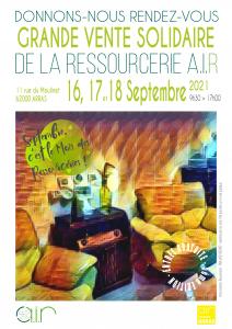 Affiche de la Grande Vente Solidaire à Arras (Pas-de-Calais) les jeudi 16, vendredi 17 et samedi 18 septembre 2021