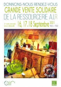 Affiche de la Grande Vente Solidaire à Ervillers (Pas-de-Calais) les jeudi 16, vendredi 17 et samedi 18 septembre 2021