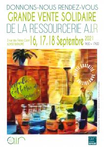 Affiche de la Grande Vente Solidaire à Bapaume (Pas-de-Calais) les jeudi 16, vendredi 17 et samedi 18 septembre 2021